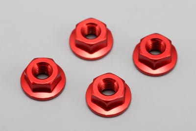 Yokomo Aluminium Flanged Nut Red 4mm (ZC-N4FR)
